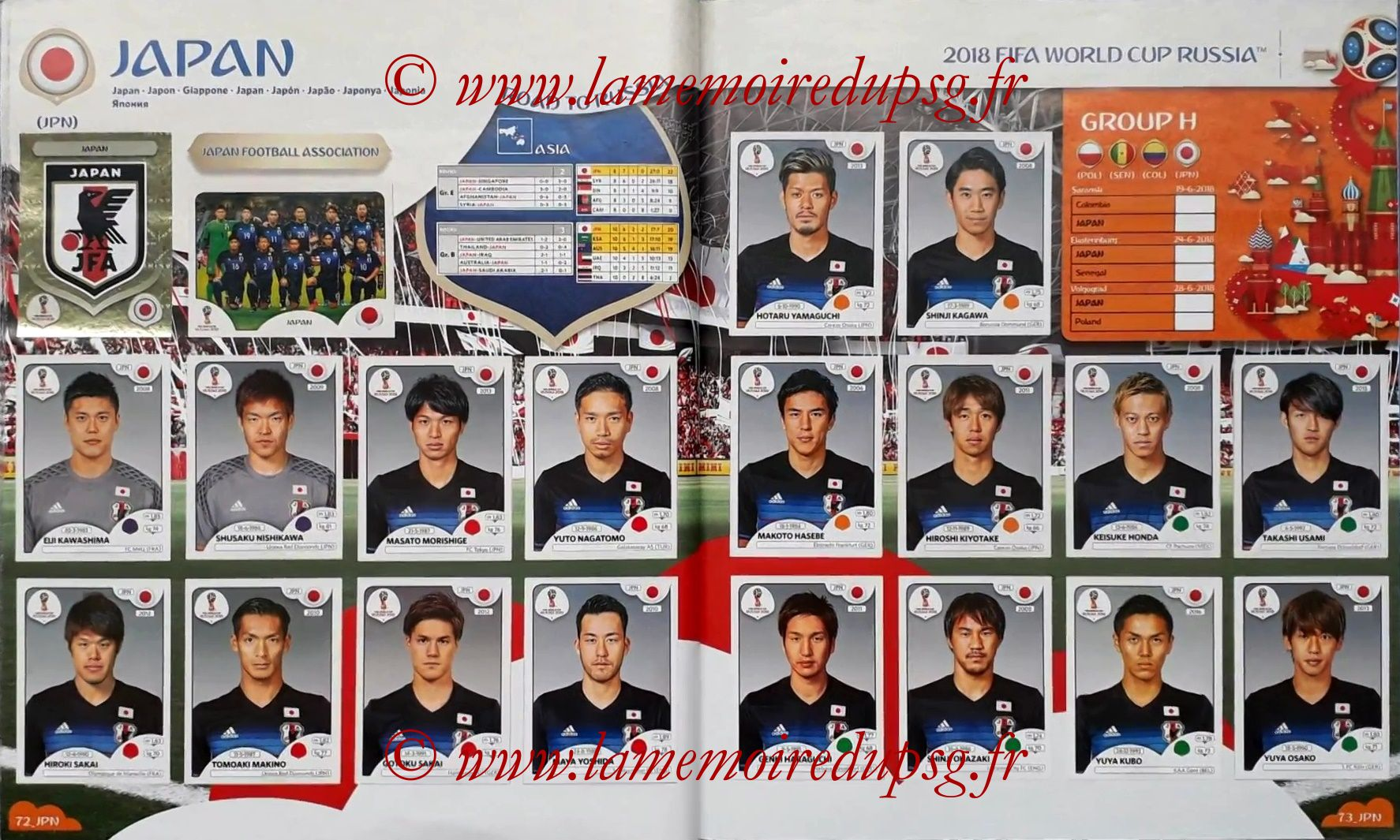 2018 - Panini FIFA World Cup Russia Stickers - Pages 72 et 73 - Japon