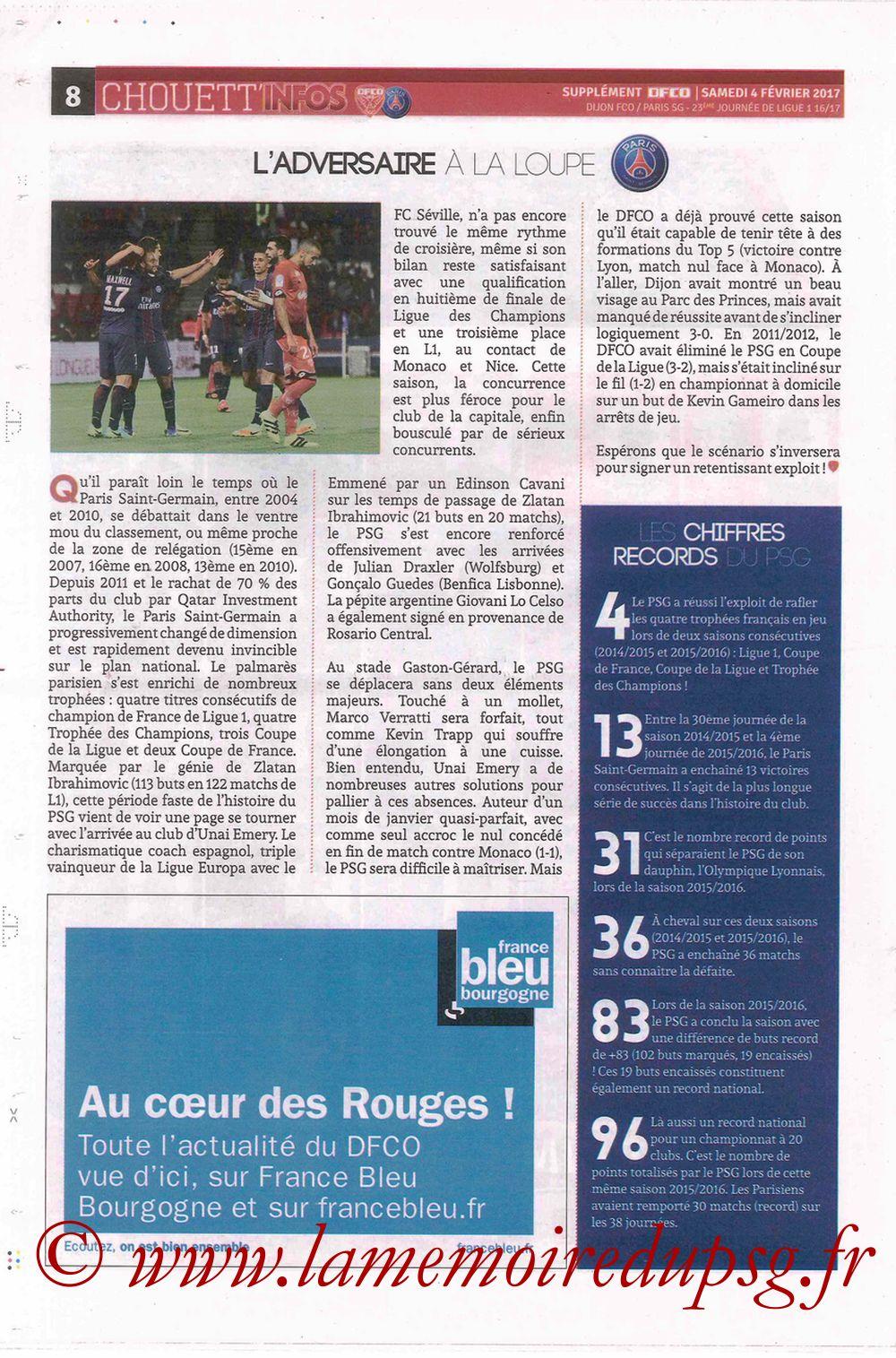 2017-02-04  Dijon-PSG (23ème L1, Chouett' Info N°12) - Page 8