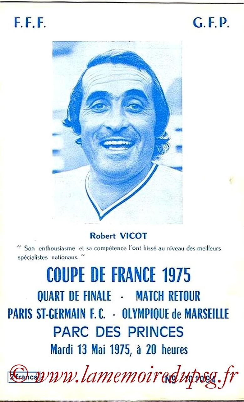 1975-05-13  PSG-Marseille (Quart Retour CF, Officiel PSG)