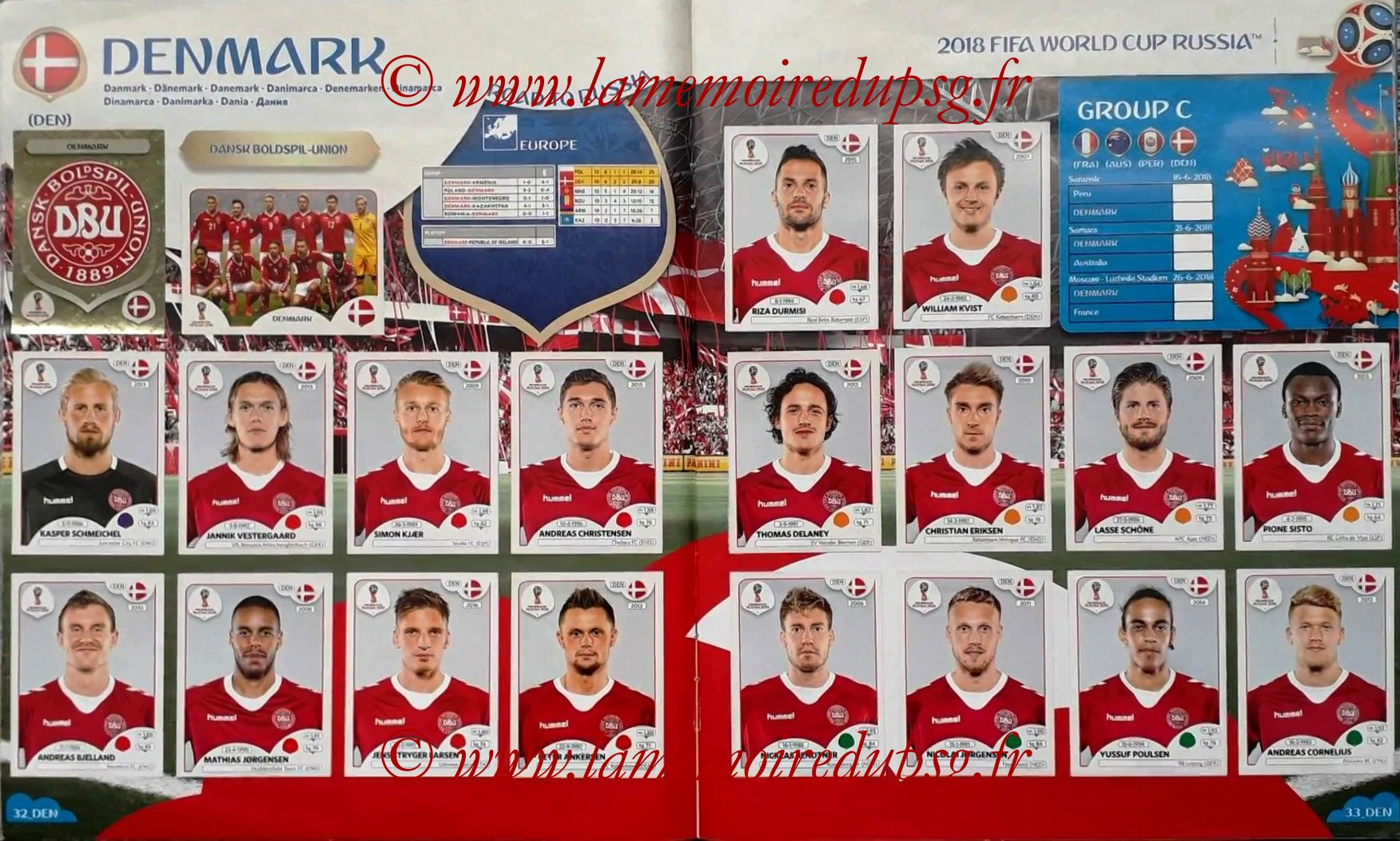 2018 - Panini FIFA World Cup Russia Stickers - Pages 32 et 33 - Danemark