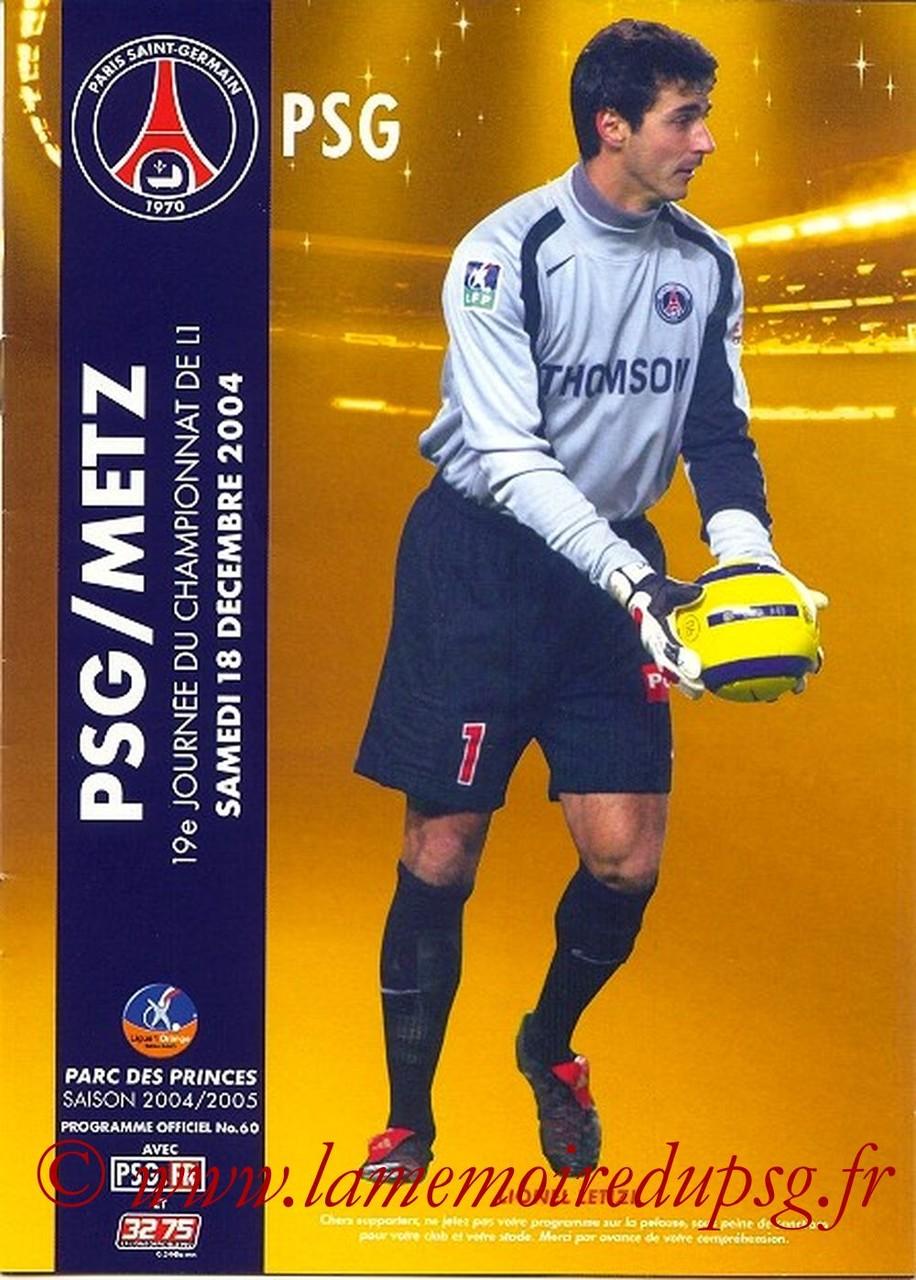 2004-12-18  PSG-Metz (19ème L1, Officiel N°60)