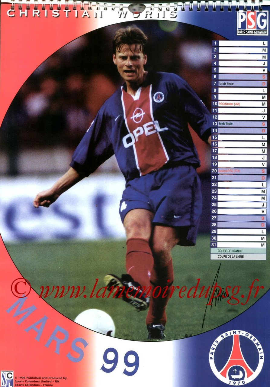 Calendrier PSG 1999 - Page 03 - Christian WORNS