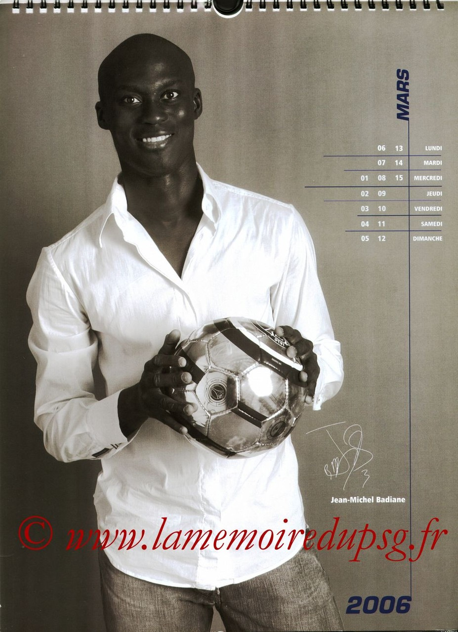 Calendrier PSG 2006 - Page 05 - Jean-Michel BADIANE