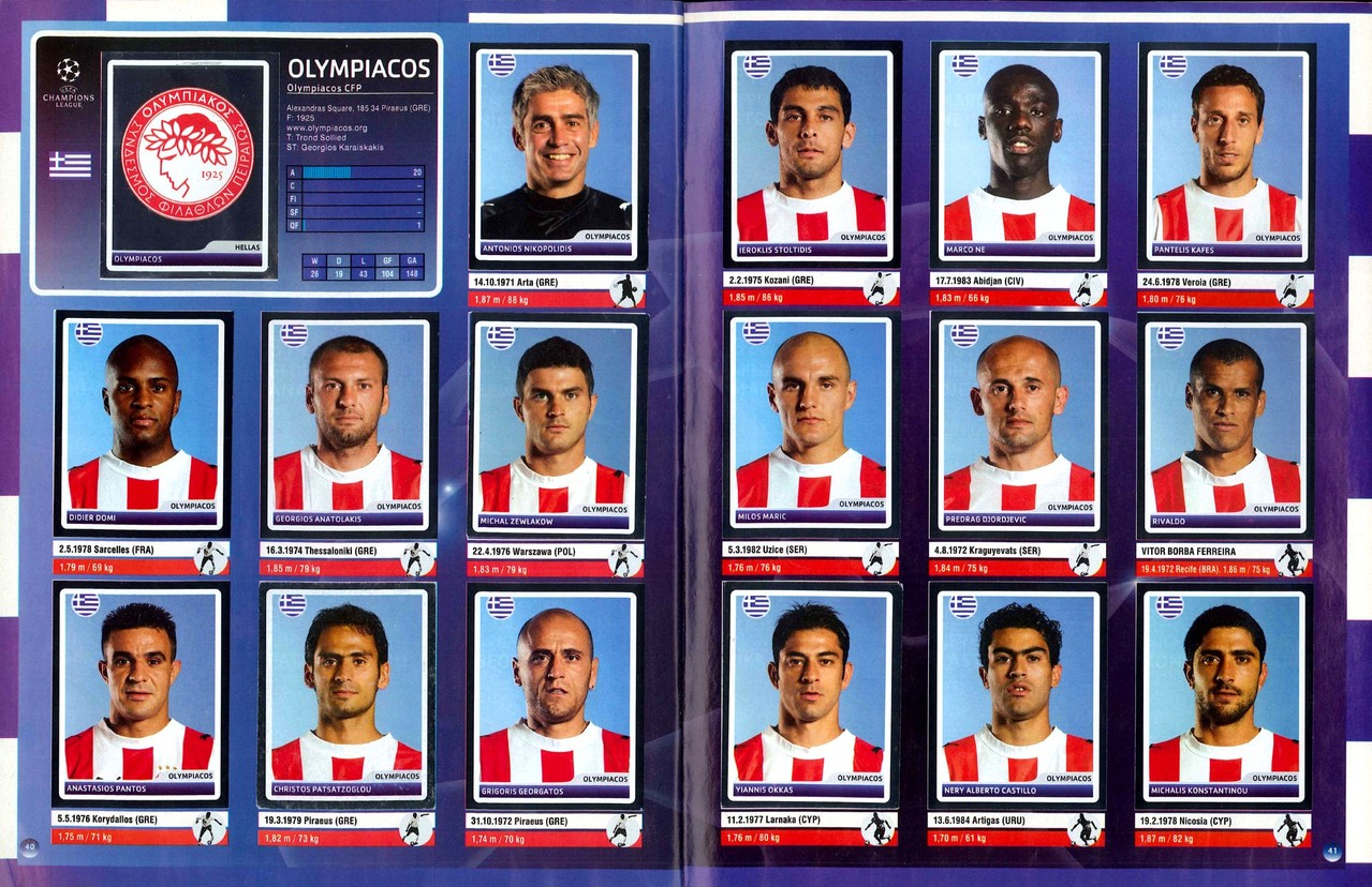 2006-07 - Panini Champions League - Pages 40 et 41 - Olympiakos