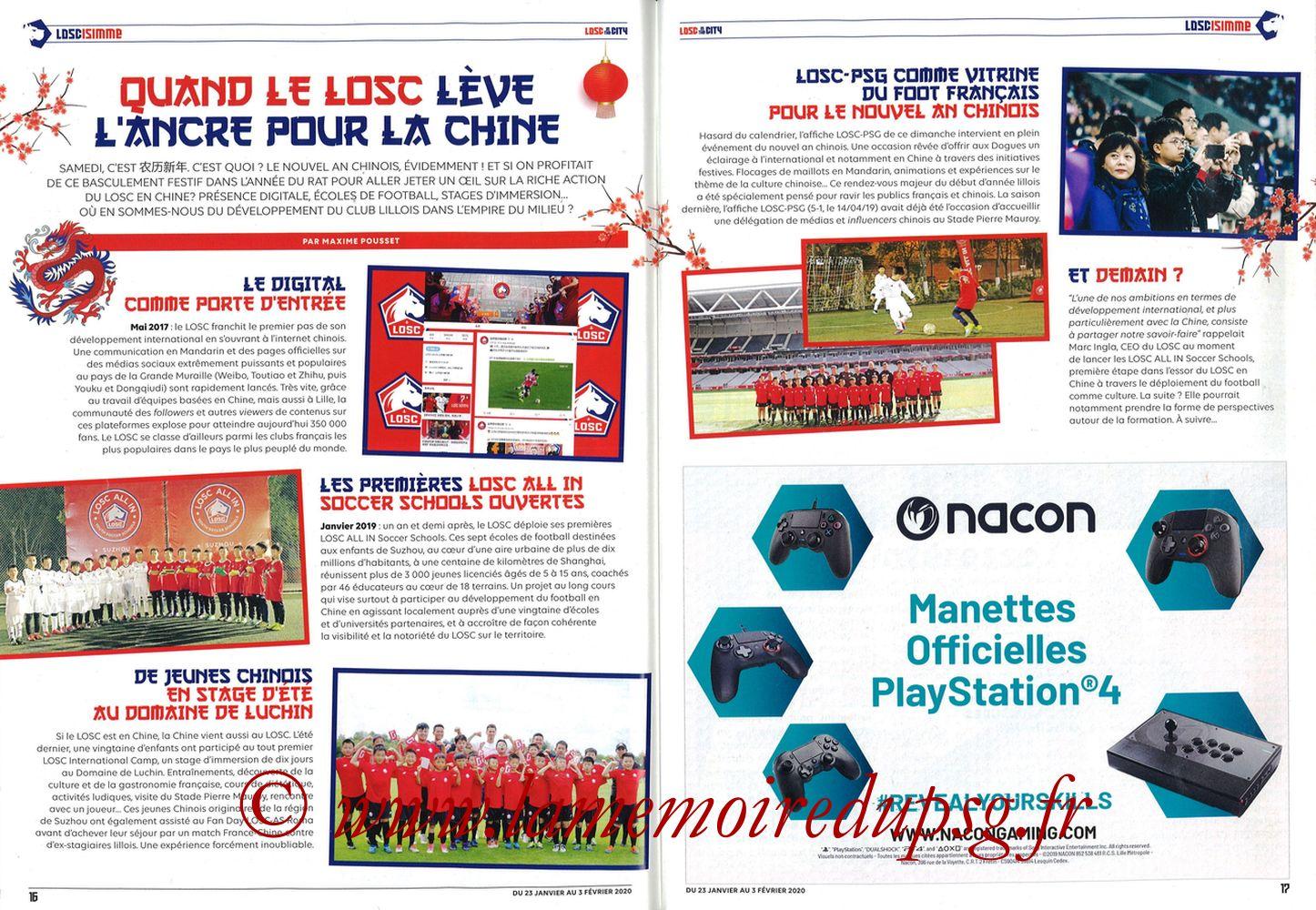2020-01-25  Lille-PSG (21ème L1, Losc in the City N°41) - Pages 16 et 17