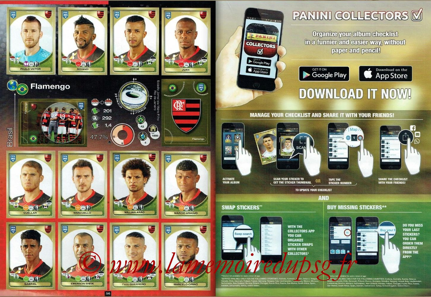 2016-17 - Panini FIFA 365 Stickers - Pages 56 et 57 - Flamengo + Panini