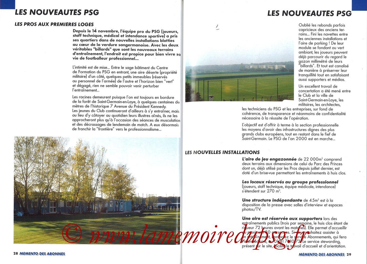 1999-00 - Guide de la Saison PSG - Pages 28 et 29