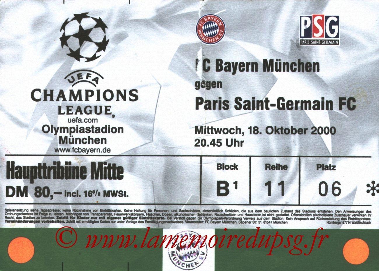 2000-10-18  Bayern Munich-PSG (1ère Phase Poule C1, 4ème Journée)