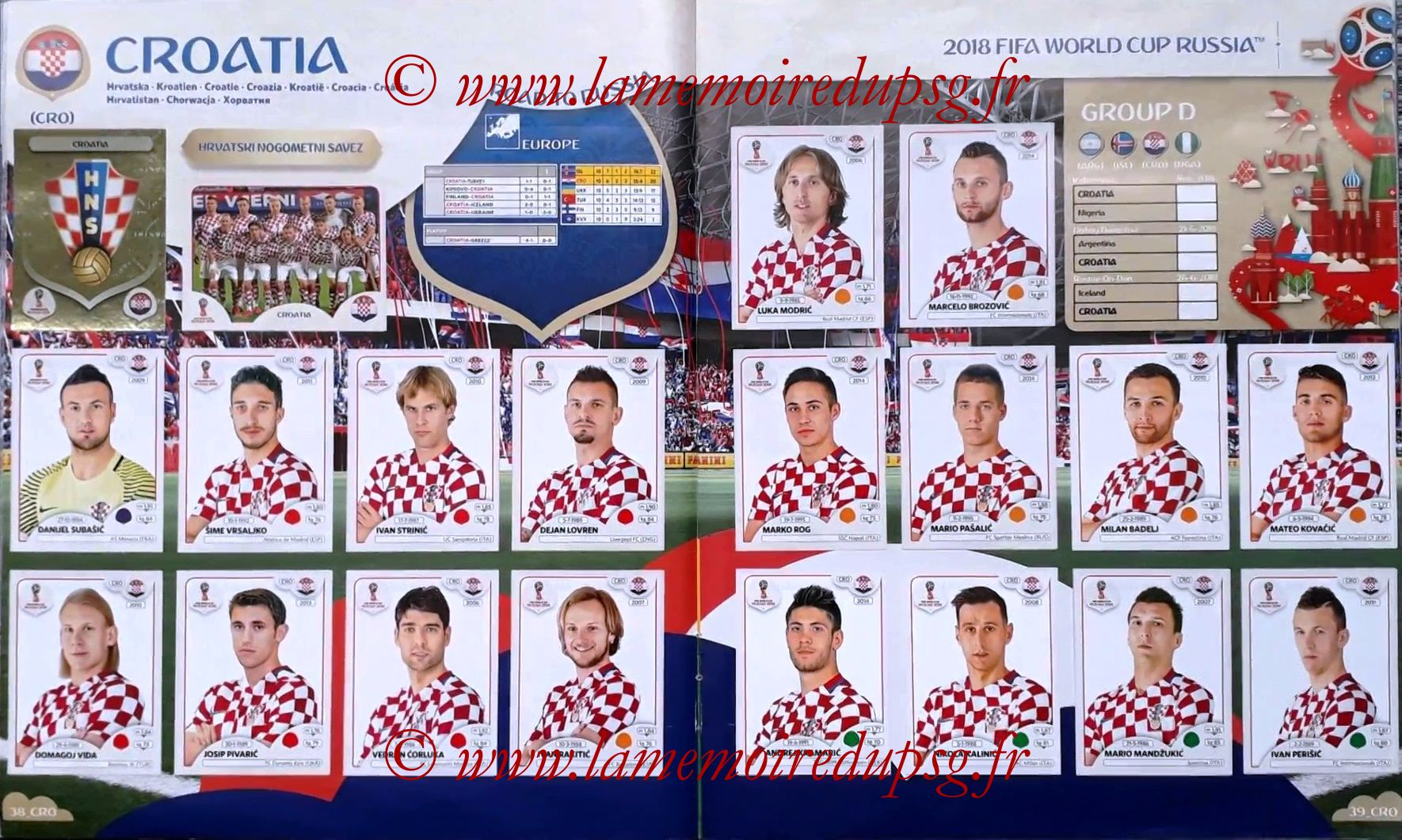 2018 - Panini FIFA World Cup Russia Stickers - Pages 38 et 39 - Croatie