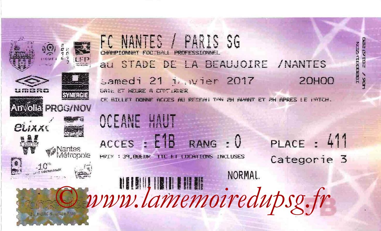 2017-01-21  Nantes-PSG (21ème L1, Francebillet)