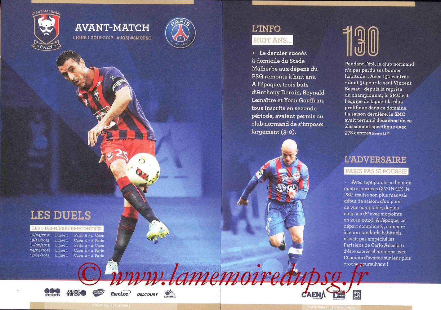 2016-09-16  Caen-PSG (5ème L1, Programme officiel) - Pages 04 et 05