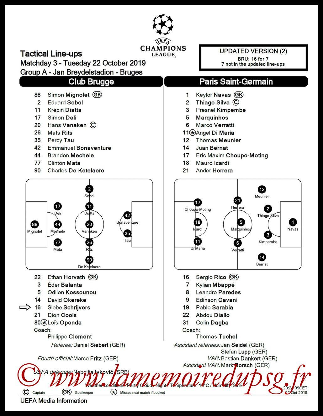 2019-10-22  Bruges-PSG (3ème L1, Feuille de match)