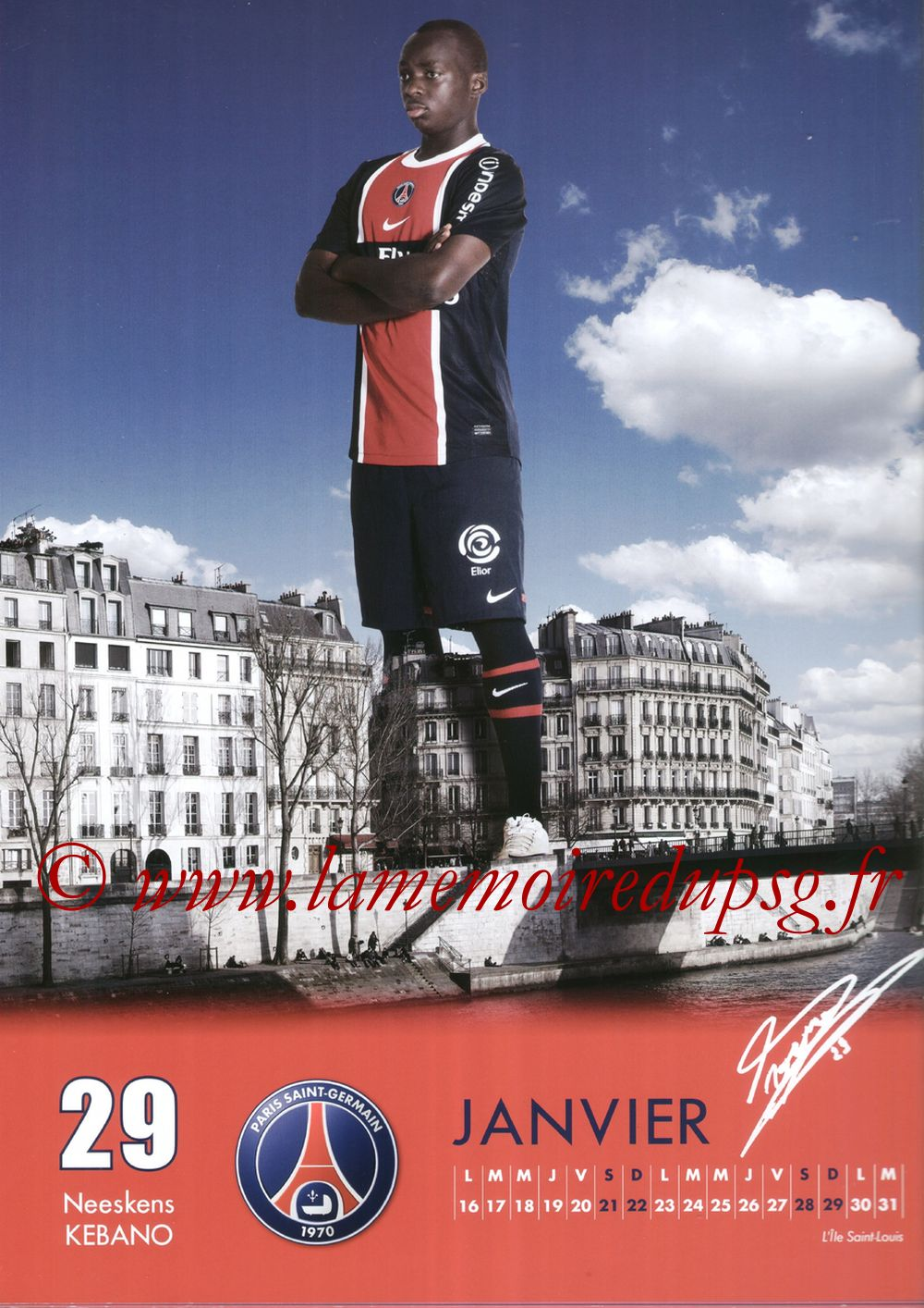 Calendrier PSG 2012 - Page 02 - Neeskens KEBANO