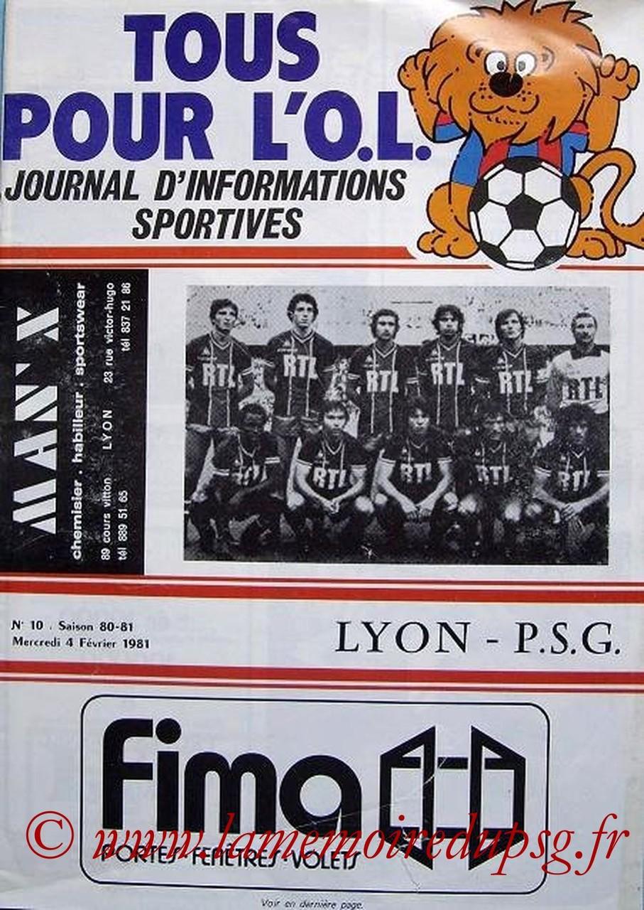 1981-02-04  Lyon-PSG (18ème D1, Match en retard, Tous pour l'OL N°10)