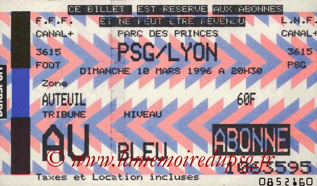 1996-03-10  PSG-Lyon (31ème D1, bis)