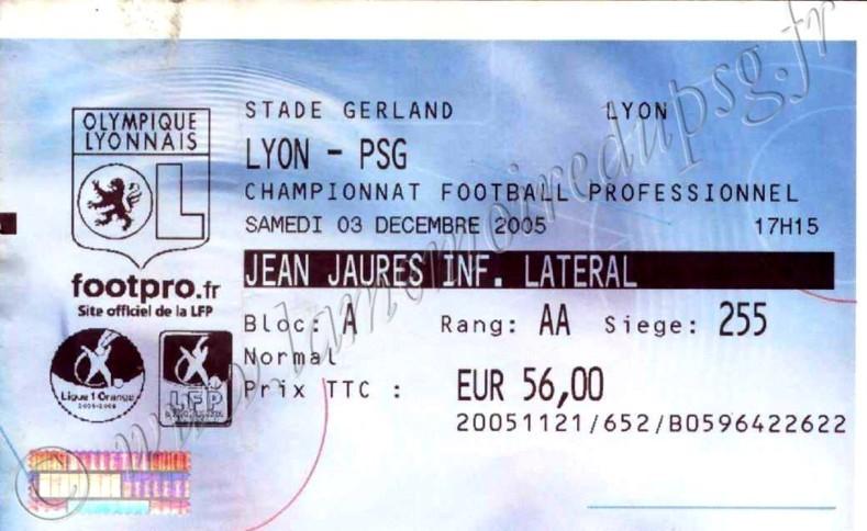2005-12-03  Lyon-PSG (17ème L1, Billetel)