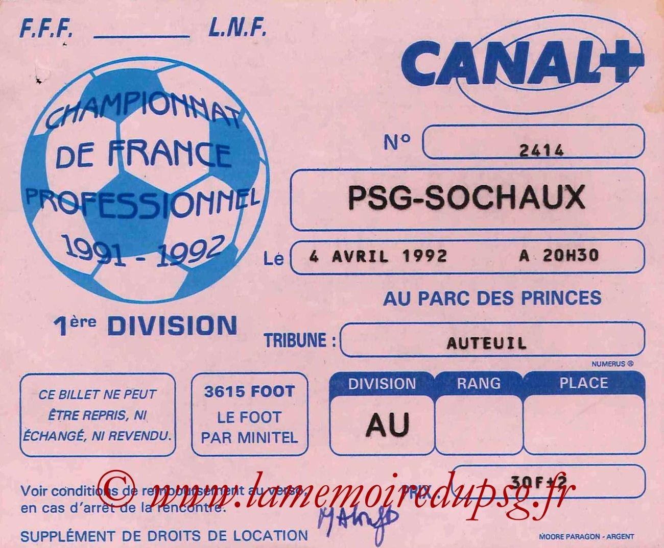 1992-04-04  PSG-Sochaux (34ème D1)