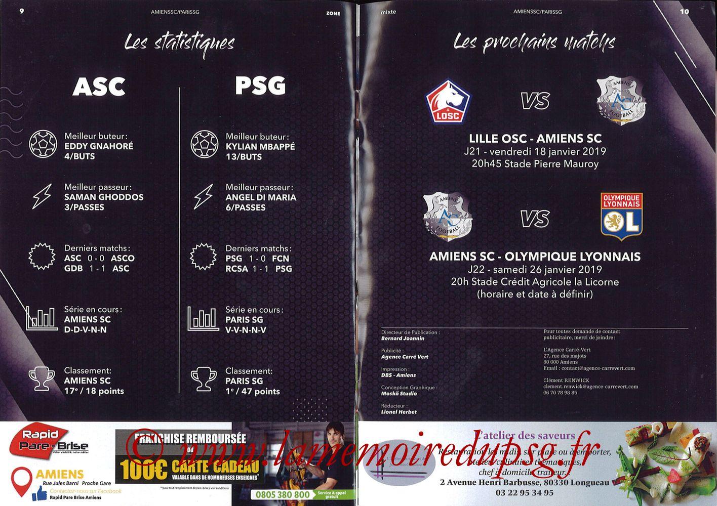 2019-01-12  Amiens-PSG (20ème L1, Zone mixte N°9) - Pages 09 et 10