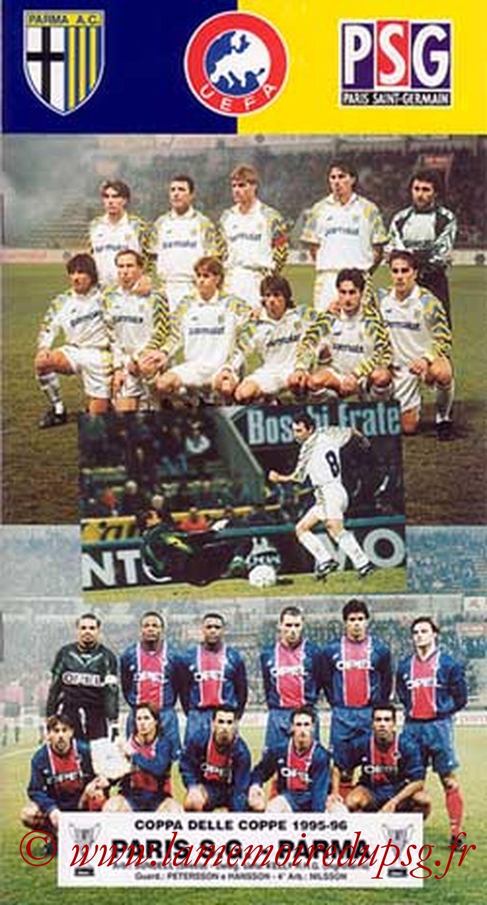 1996-03-21  PSG-Parme (Quart Finale Retour C2, Programme officiel Parme 2, que je n'ai pas)