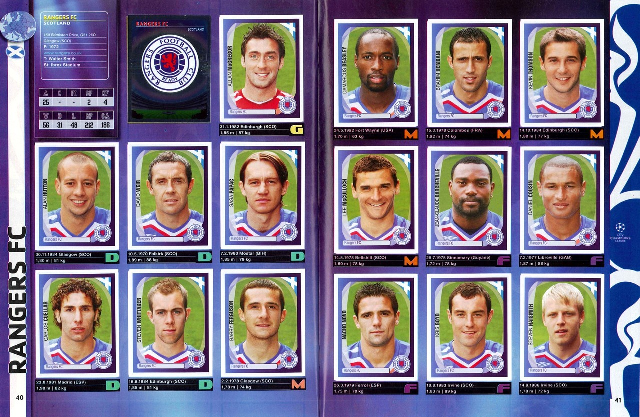 2007-08 - Panini Champions League - Pages 40 et 41 - Rangers FC