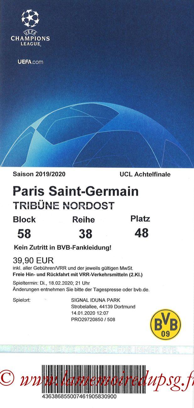 Ticket  Borussia Dortmund-PSG  2019-20