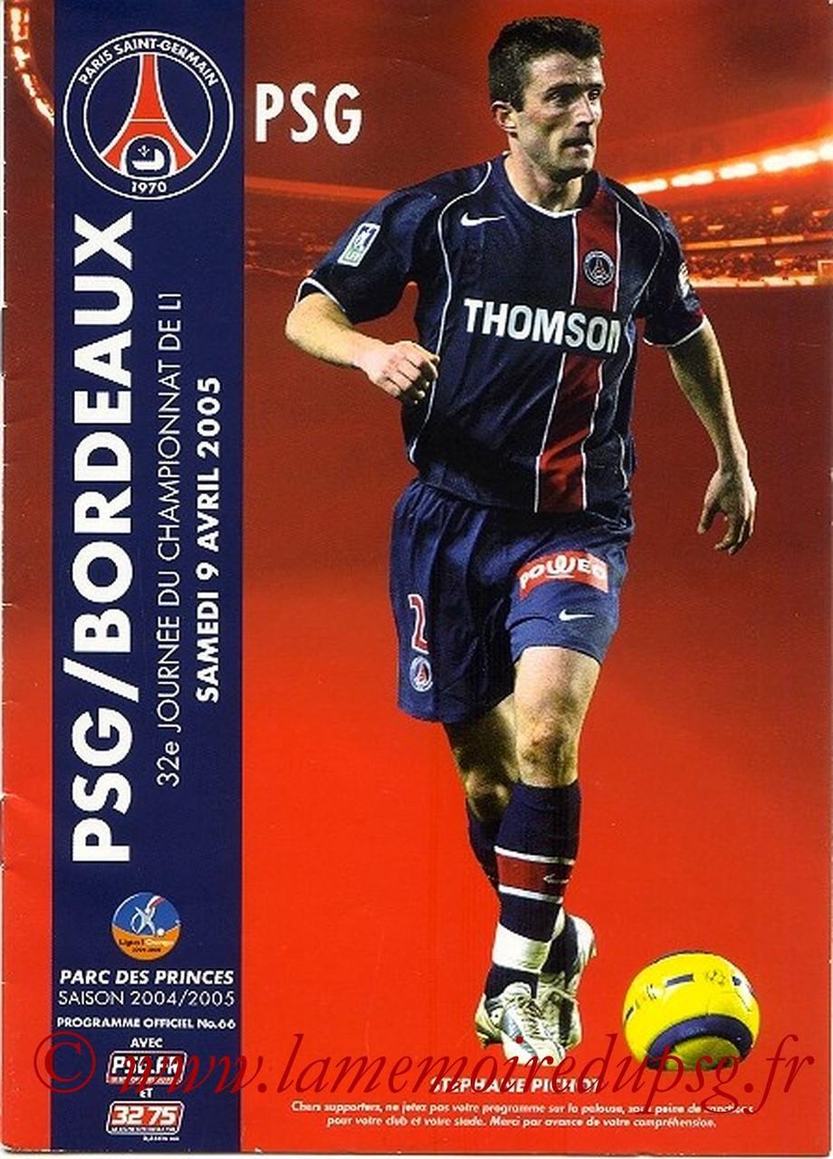 2005-04-09  PSG-Bordeaux (32ème L1, Officiel N°66)