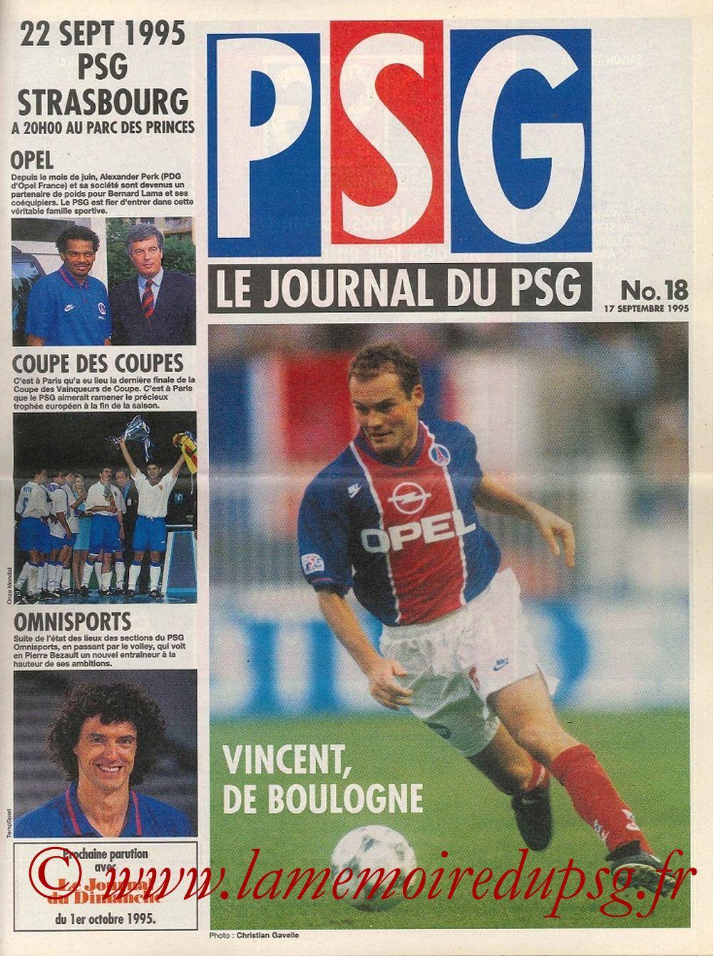 1995-09-22  PSG-Strasbourg (10ème D1, Le journal du PSG N°18)