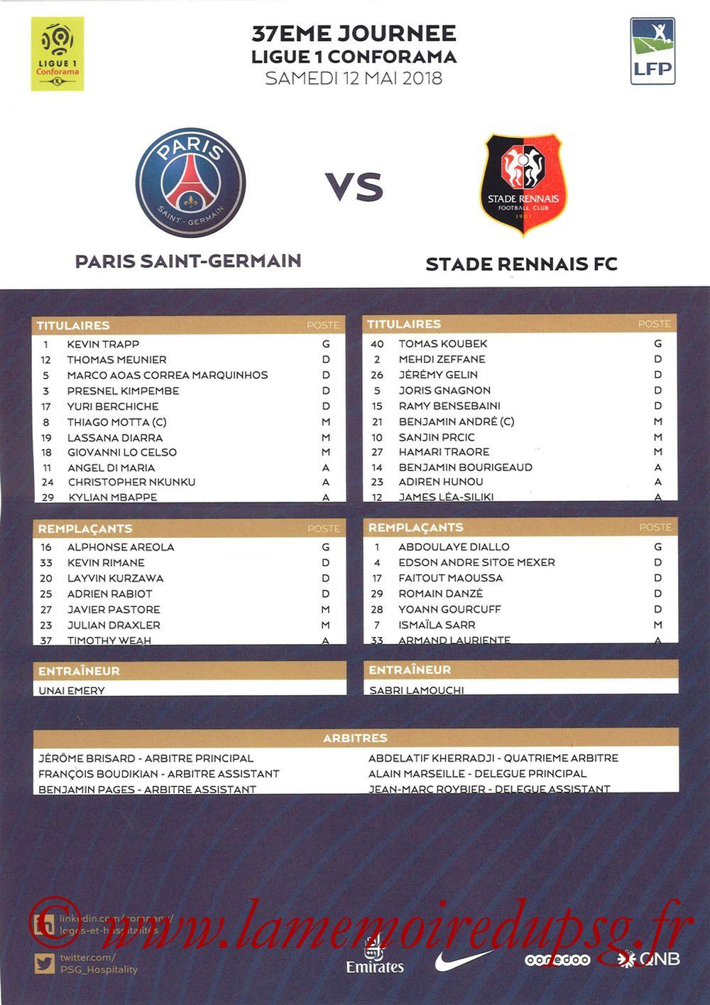 2018-05-12  PSG-Rennes (37ème L1, Feuille de match)