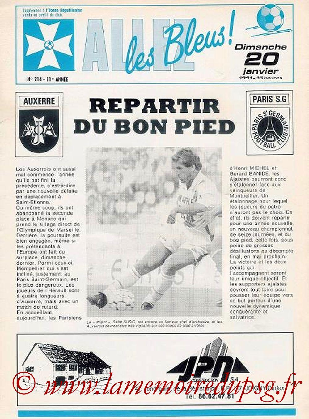 1991-01-20  Auxerre-PSG (23ème D1, Allez les Bleus N° 214)