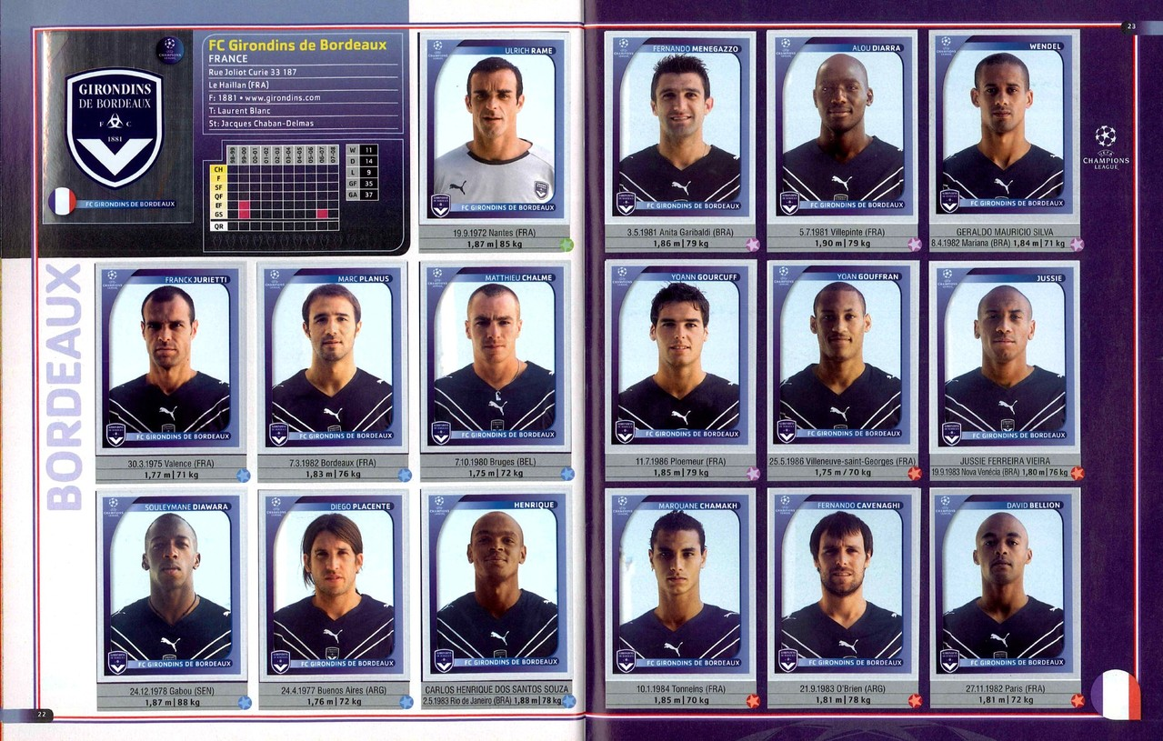 2008-09 - Panini Champions League - Pages 22 et 23 - FC Girondins de Bordeaux