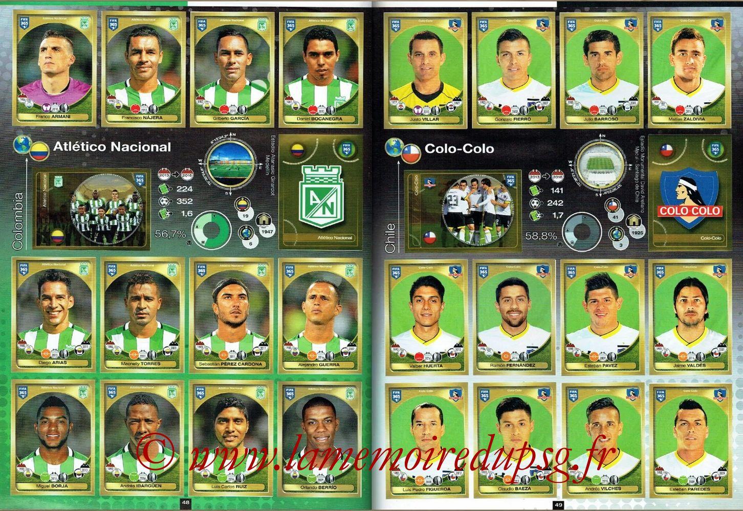 2016-17 - Panini FIFA 365 Stickers - Pages 48 et 49 - Atletico Nacional + Colo-Colo