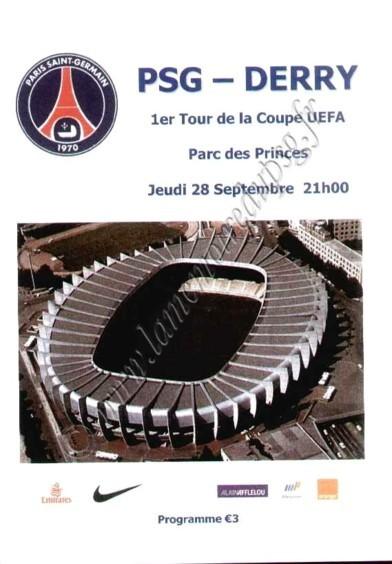 2006-09-28  PSG-Derry City (64ème Retour UEFA, Programme pirate 3)