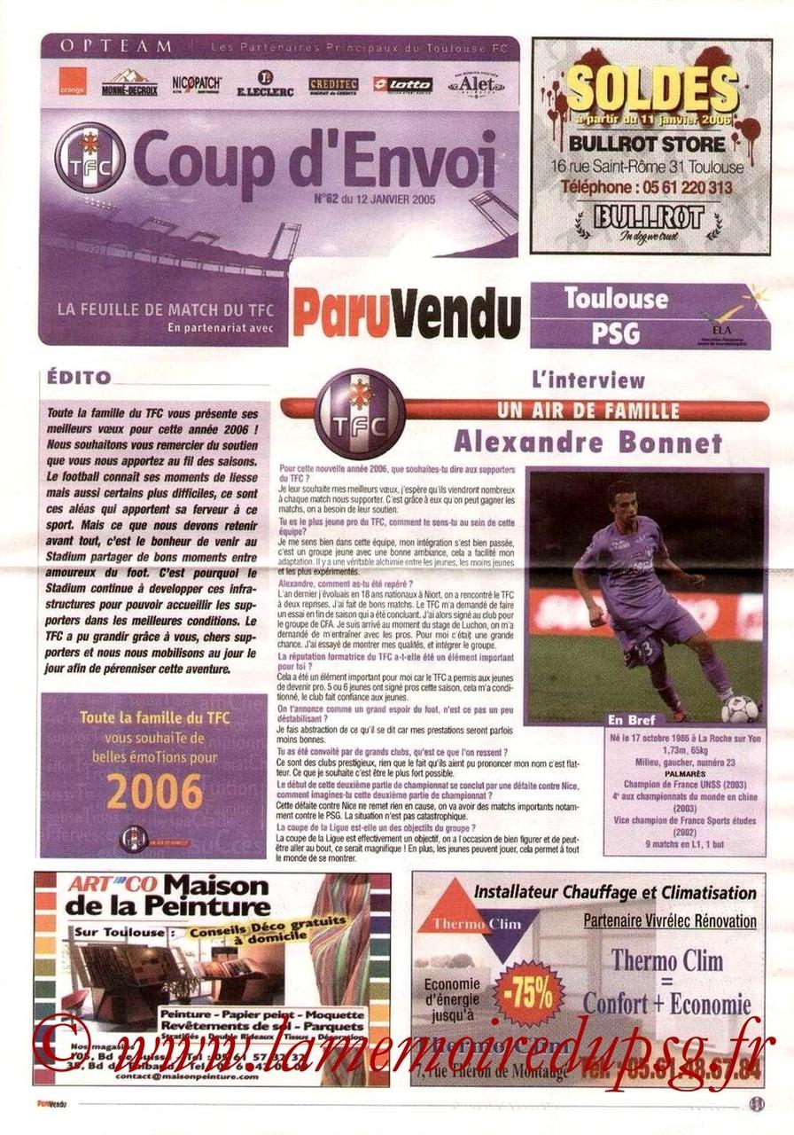 2006-01-12  Toulouse-PSG (21ème L1, Coup d'envoi N°62)
