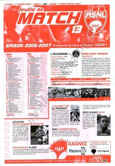 2007-02-17  Nancy-PSG (25ème L1, Feuille de match N°13)