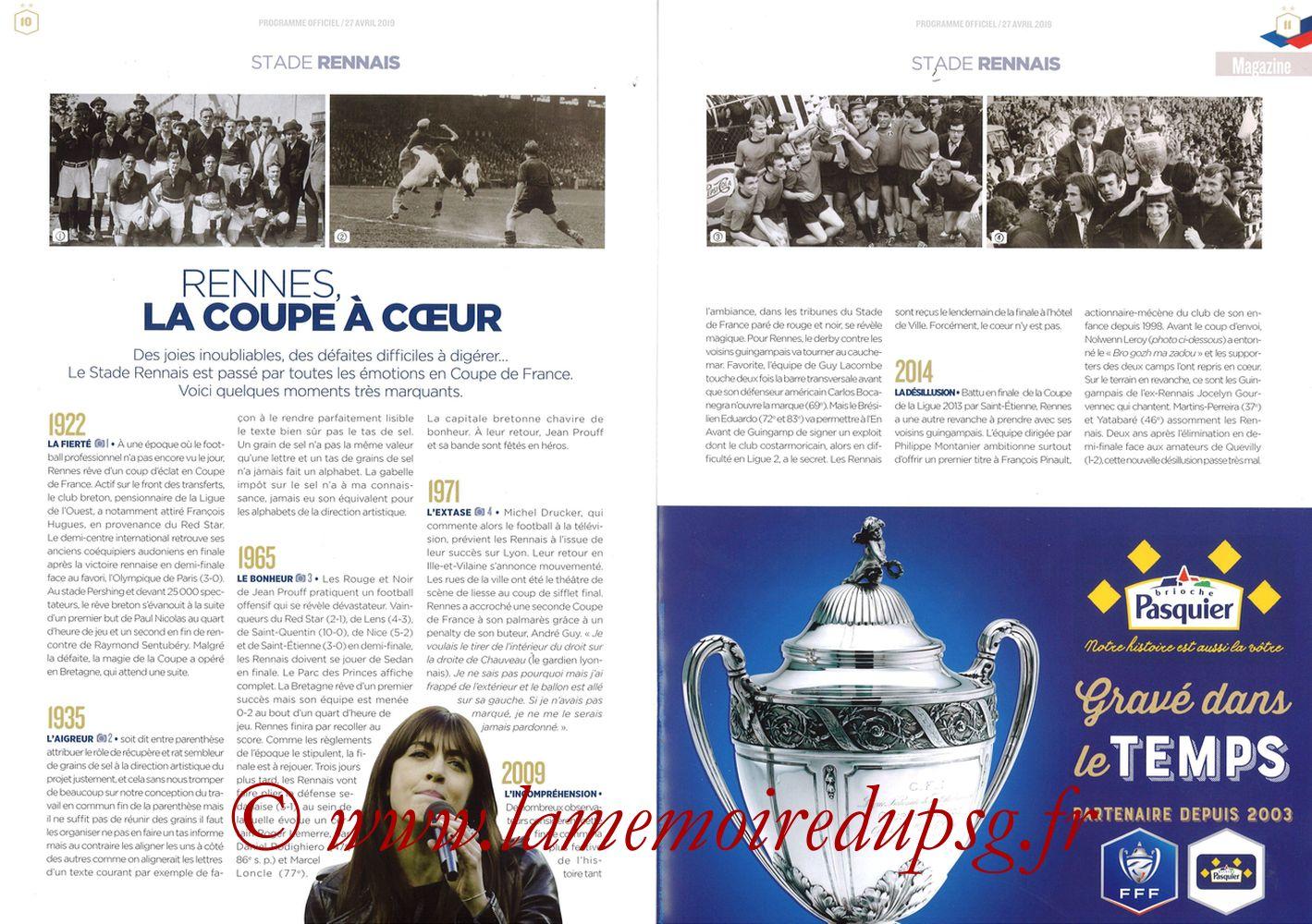 2019-04-27  Rennes-PSG (Finale CF au Stade de France, Programme officiel FFF) - Pages 10 et 11