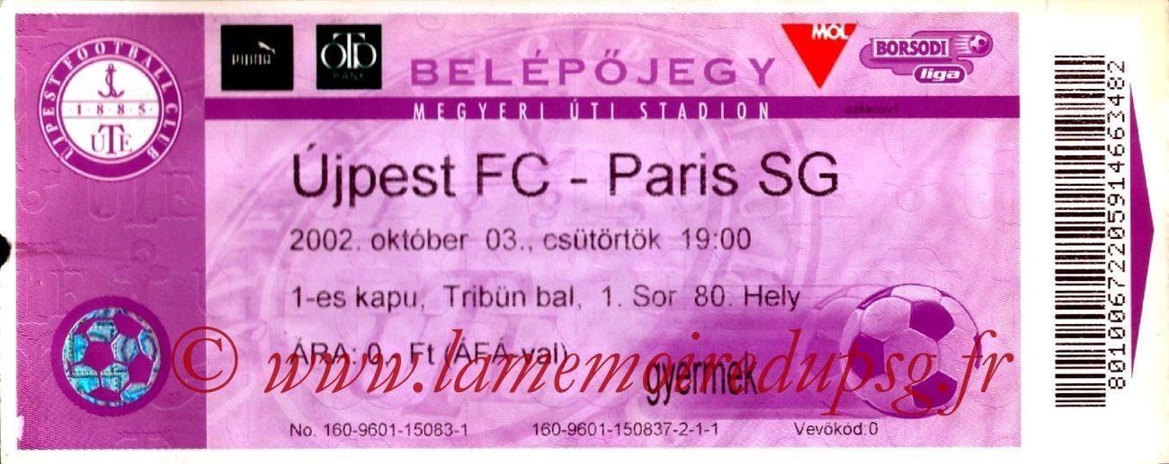 2002-10-03  Ujpest-PSG (64ème Finale Retour C3)