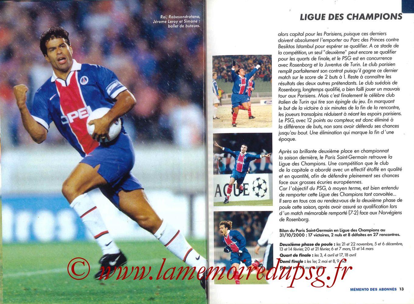 2000-01 - Guide de la Saison PSG - Pages 12 et 13