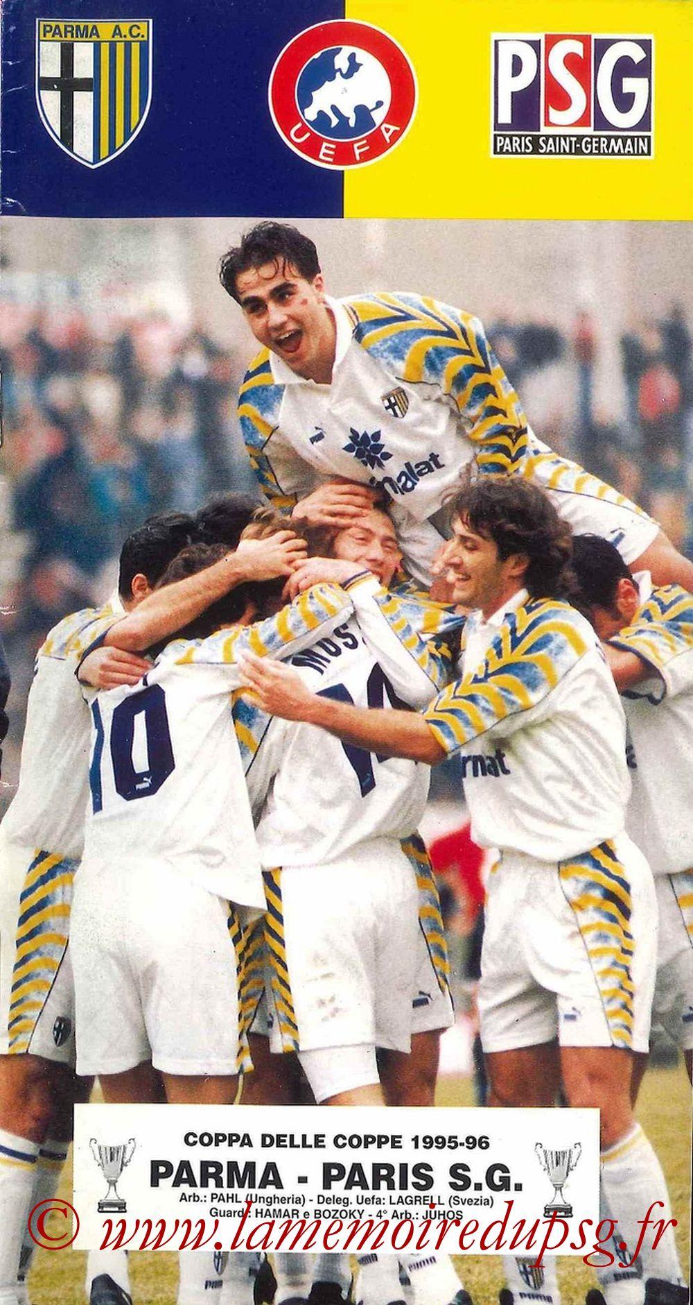 1996-03-07  Parme-PSG (Quart Finale Aller C2, Programme officiel)