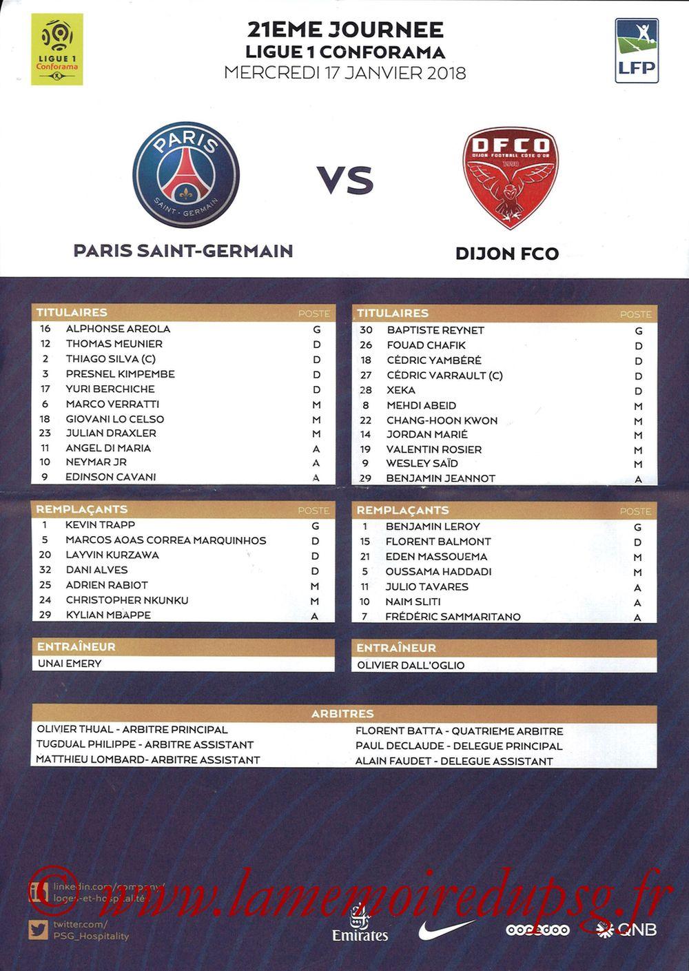 2018-01-17  PSG-Dijon (21ème L1, Feuille de match)