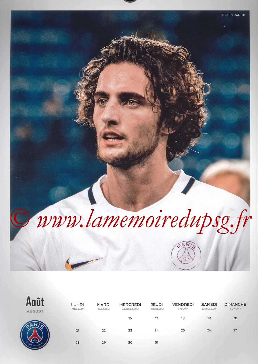 Calendrier PSG 2017 - Page 16 - Adrien RABIOT