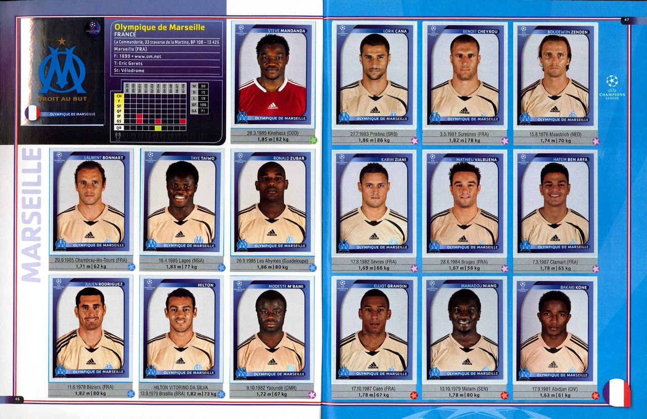 2008-09 - Panini Champions League - Pages 46 et 47 - Olympique de Marseille