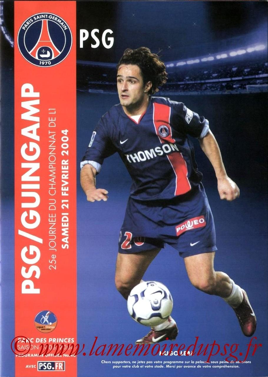 2004-02-21  PSG-Guingamp (25ème L1, Programme officiel N°46)