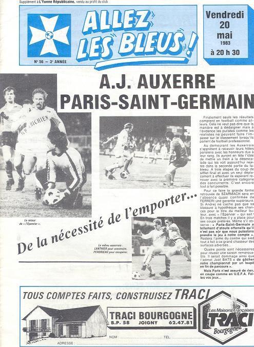 1983-05-20  Auxerre-PSG (36ème D1, Allez les Bleus N°83)