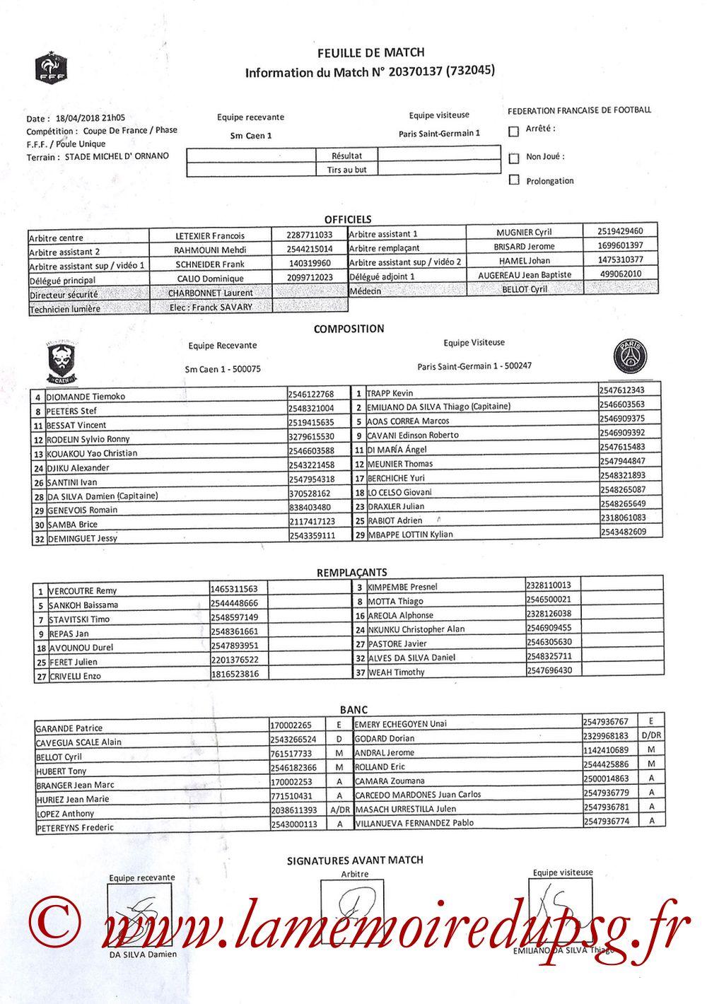 2018-04-18  Caen-PSG (Demi Finale CF, Feuille de match)