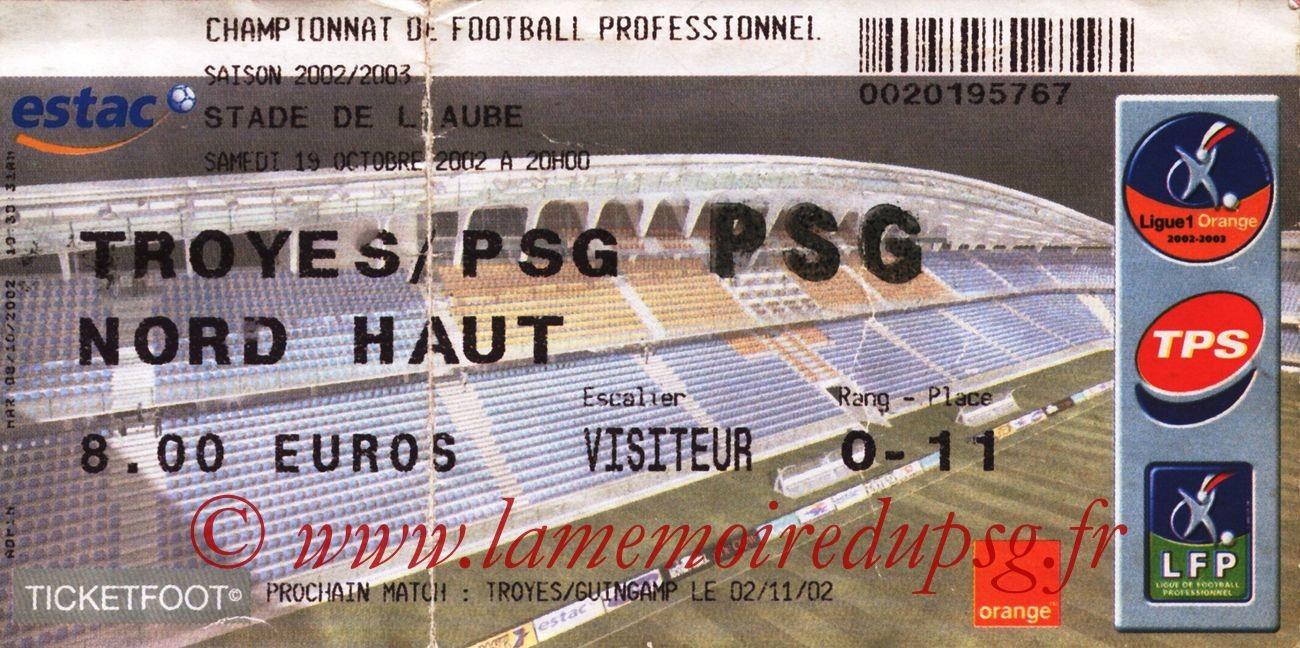 2002-10-19  Troyes-PSG (11ème L1)