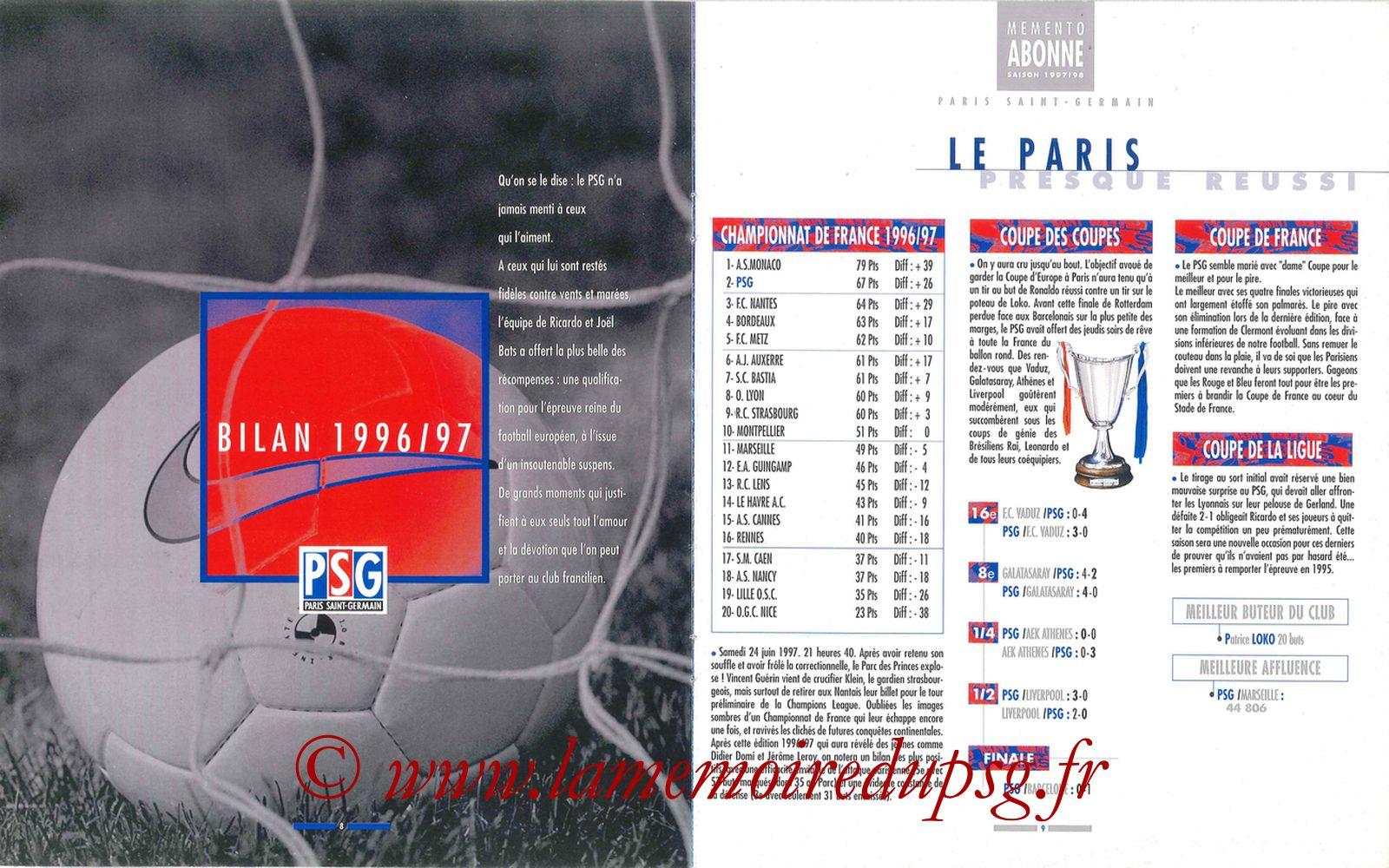 1997-98 - Guide de la Saison PSG - Pages 08 et 09