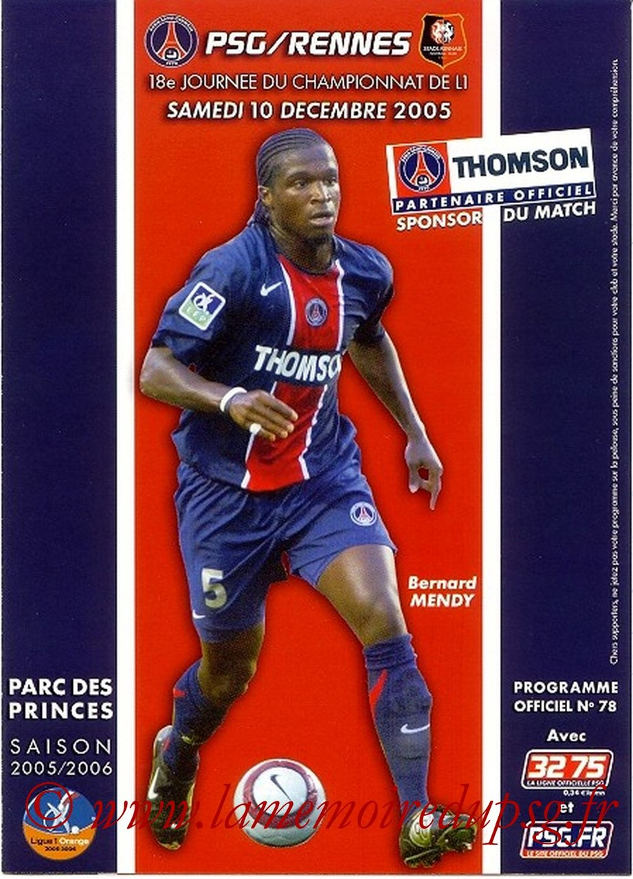 2005-12-10  PSG-Rennes  (18ème L1, Officiel N°78)