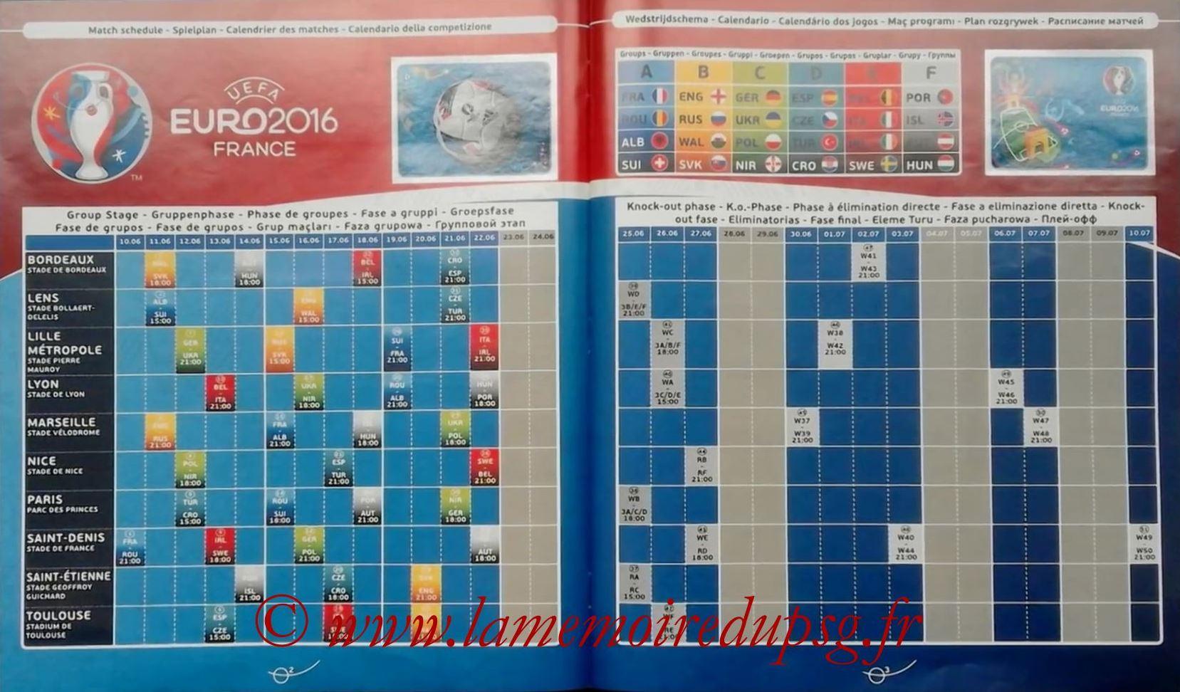 Panini Euro 2016 Stickers - Pages 02 et 03 - Calendrier des matchs