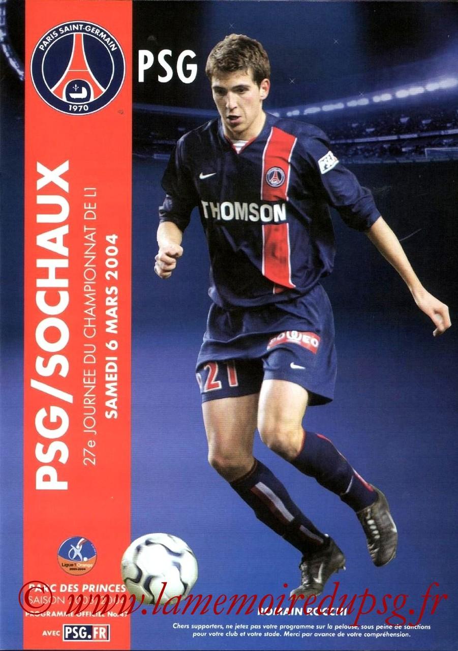 2004-03-06  PSG-Sochaux (27ème L1, Programme officiel N°47)