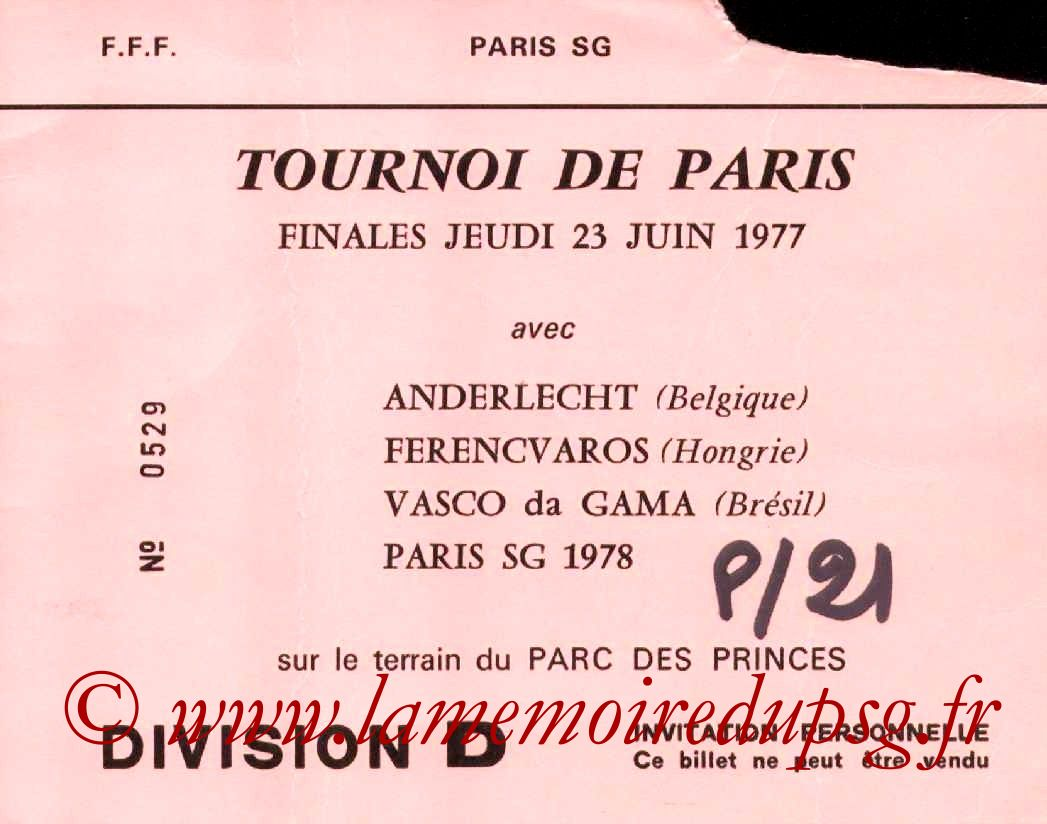 1977-06-23  PSG-Vasco de Gama (Match 3ème Place Tournoi de Paris, Invitation)